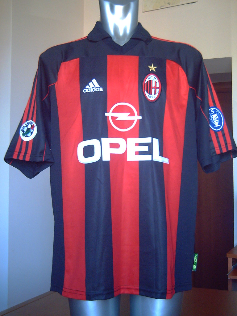 AC MILAN MATCH WORN SHIRT 2000-01